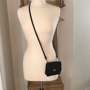 Coach Black Leather Crossbody Wallet Small Purse